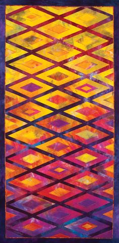 It's All About the Colour, upcoming class by Gloria Loughman.  Australasian quilt convention 2012.  Golden yellow with blue-violet, plus analogous hues