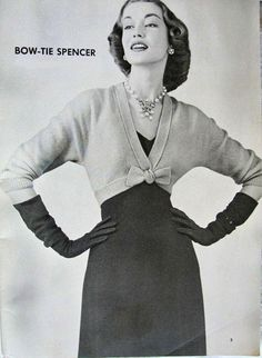 INSTANT  PDF PATTERN 1950s Classy Bow Tie Spencer Sweater Jacket Vintage Knitting Pattern