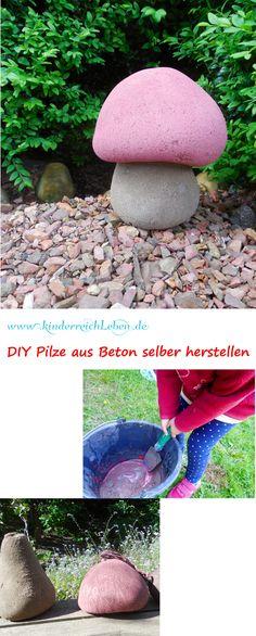 Betonpilze DIY Anleitung - Pilze aus Beton selber machen - schnell, einfach und wunderschön - Deko und Ideen für den Garten| DIY Make your own Concrete mushroom