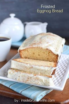 Nothing goes better with a cup of coffee than a slice of this Frosted Eggnog Bread on a crisp Christmas morning.