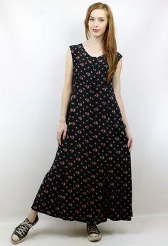 Vintage 90s Soft Grunge Black Floral Maxi Dress, size M by shopEBV