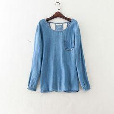 3d06b5cade Barato 2015 mulheres de estilo europeu jeans blusa camisa magro camisa de  manga comprida camisa jeans
