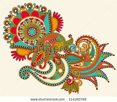 original hand draw line art ornate flower design. Ukrainian traditional style. Raster version - stock photo