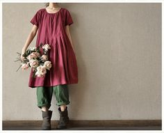 Red  Women  Girl Cotton  Short  Sleeved Long  Dress Romantic Linen