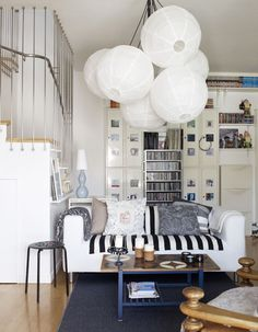 Living room Design Ideas Inspired by IKEA Lanterns Decor, Paper Lanterns, Paper Lamps, Living Room Designs, Living Room Decor, Living Area, Dining Room, Kitchen Ceiling Lights, Colored Ceiling