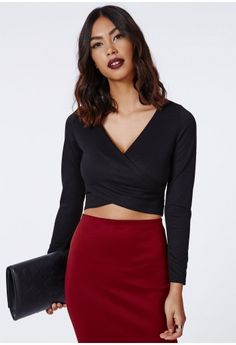 Missguided - Janey Wrap Front Crop Top Black