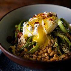 Warm Farro Asparagus and Poached Egg