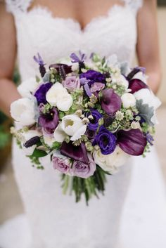 Stunning Mountain Wedding at Four Seasons Resort Vail. BOUQUET of purples, plums, lavender, and white.