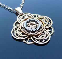 Steampunk Flower Necklace Bloom Elegant by amechanicalmind on Etsy, $52.00