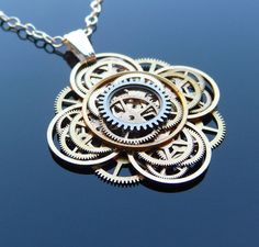 Steampunk Flower Necklace Bloom Elegant by amechanicalmind on Etsy, $52.00