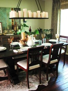 Calming Green Dining Room Inspirations 2014 : Amazing Green Dining Room Design Inspiration with Dark Wood Dining Table and White Upholstered. Green Dining Room, Dining Room Hutch, Dining Room Table Decor, Dining Room Walls, Dining Room Design, Dining Chairs, Room Decor, Dark Wood Dining Table, Wooden Tables