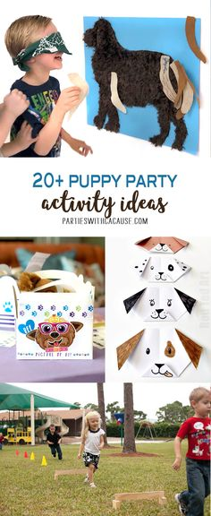 Keep the kids entertained for a puppy themed birthday party! Find 20+ puppy party activity ideas for all ages at PartiesWithACause.com #puppyparty #partyactivity #kidparty #kidbirthday #partyforapurpose #partygame #partywithacause