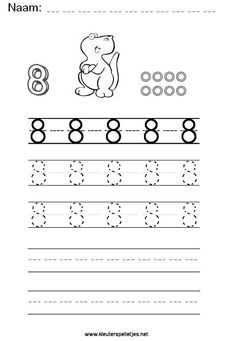 Cijfer 8. Leer het cijfer acht schrijven, werkblad om te printen en het schrijven van het cijfer te oefenen. Grande Section, Writing Numbers, Kindergarten Worksheets, School Projects, Preschool, Letters, Activities, Education, Learning