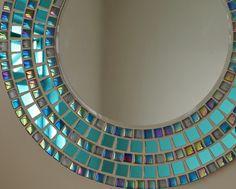 Large round mirror mosaic mirror hand made tiles wedding Mirror Mosaic, Mosaic Wall Art, Mosaic Tiles, Mosaics, Large Round Mirror, Round Mirrors, Mosaic Crafts, Mosaic Projects, Handmade Mirrors