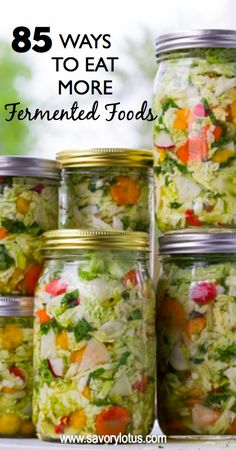 85 Ways to Eat More Fermented Foods. RECIPES FOR: Drinks - Veggies - Sauerkraut - Dairy - Non-Dairy Alternatives - Condiments - Other Cool Fermented Foods Fermentation Recipes, Canning Recipes, Raw Food Recipes, Healthy Recipes, Kefir Recipes, Canning Tips, Clean Recipes, Food Tips, Recipes Dinner