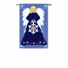 """Flags A' Flying """"Angel"""" Applique Seasonal Banner; Polyester 30""""x44"""" - Christmas"""
