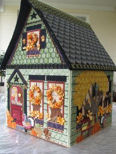 Thanksgiving house, needlepoint