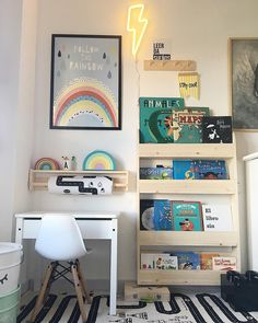 Cute desk area, with rainbow print and bookcase, kid room decor, playroom decor Childrens Bookcase, Kids Bookcase, Bookshelves, Girl Bedroom Designs, Girls Bedroom, Kids Interior, Deco Kids, Fantasy Bedroom, Toddler Rooms