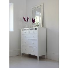 Large Fretwork #chestofdrawers in White from #outthereinteriors