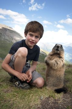 boy with alpine marmots 9