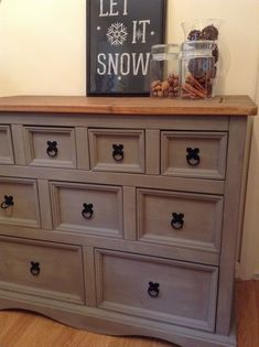 Pine sideboard/chest of drawers up cycled, painted in Annie Sloan French Linen