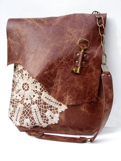Boho Leather Messenger Bag with Crochet Lace & Vintage Key by Urban Heirlooms