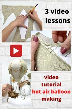 There is a detailed video lesson about hot air balloon making. Diy Craft Projects, Crafts For Kids, Diy Crafts, Diy Hot Air Balloons, Baby Mobile, How To Make Lanterns, Balloon Decorations, Craft Activities, Diy Kits
