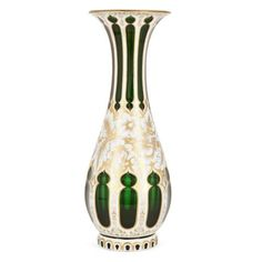Bohemian parcel gilt white overlay green glass vase | Bohemian | Late 19th Century. More details online at mayfairgallery.com Clay Pots, Art Decor, Home Decor, Overlays, 19th Century, Glass Vase, Antique Vases, Antiques, Green