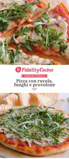 Pizza con rucola, funghi e provolone