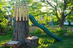 Tree Trunk Slide {wifemothergardener}
