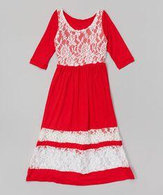 Look at this #zulilyfind! Red Lace Maxi Dress - Toddler & Girls #zulilyfinds