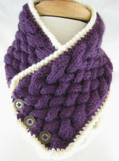 Purple NeckWarmer - Basket Weave, Cream trim & 3 Vintage Button | jazzitupwithdesignsbynancy - Knitting on ArtFire
