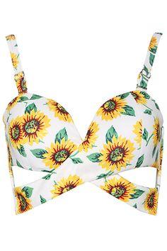 ROMWE | ROMWE Sunflower Print Cut-out White Bandeau, The Latest Street Fashion