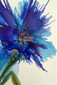 Midnight Lilly for Sara. Alcohol ink on Yupo paper.