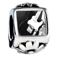 Black Electric Guitar Photo Flower Charms  Fit pandora,trollbeads,chamilia,biagi,soufeel and any customized bracelet/necklaces. #Jewelry #Fashion #Silver# handcraft #DIY #Accessory