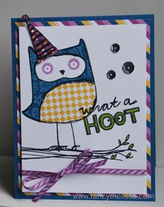 What a Hoot Birthday Card www.fancymelissa.com #ctmh #confettiwishes #sotm