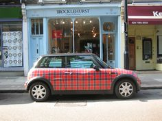A tartan Mini Cooper - oooh I love this SO much.