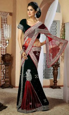 Online Shopping for Brick Red and Black Lehenga Style Saree with Blouse. Buy Online Designer Georgette and Net Sarees.