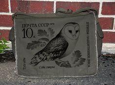 Barn Owl Post Stamp - Cotton Canvas Messenger Bag - Khaki Green