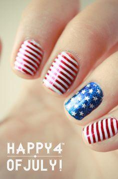 July 4th Nails! nail polish, fourth of july, nail designs, red white blue, nail arts, 4th of july, patriotic nails, chic nails, blue nails