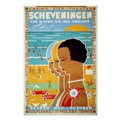 Vintage Travel Poster, Scheveningen, Holland