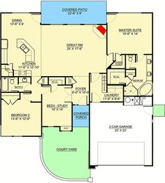 Contemporary One-Level House Plan with Split Beds - floor plan - Main Level One Level House Plans, Barn House Plans, Modern House Plans, Small House Plans, House Floor Plans, Built In Lockers, Modern Small House Design, Electrical Plan, Roof Detail