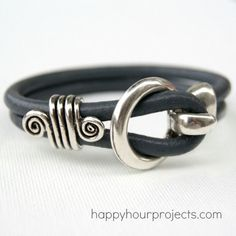 Five Minute Leather Bracelet.  I love this one!!!  Tutorial by Happy Hour Projects.