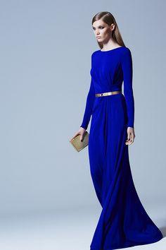ELIE SAAB Pre-Fall 2013 - Longue robe bleu roi et ceinture dorée