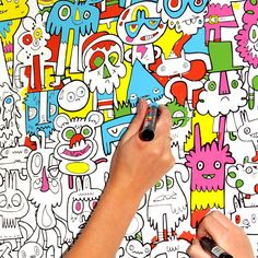 colour in wallpaper by Jon Burgerman - wow I wish I had this