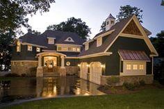 white trim, gray roof, copper standing seam