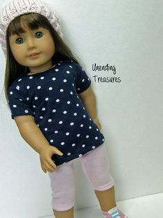 American Girl doll clothes, 18 inch doll clothes, navy with white dots top, pink capri leggings, and pink slouch hat