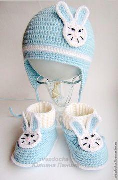 """Купить комплект """"Зайка"""" пинетки - шапочка - комплект для мальчика, пинетки, теплые пинетки, красивые пинетки"""