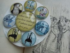 Pride and Prejudice Jane Austen Glass Magnets  Set by TurtleDoves, $14.95