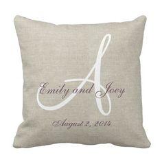 Beige Linen Purple White Monogram Wedding ceremony Souvenir Throw Pillow.  Figure out more at the image
